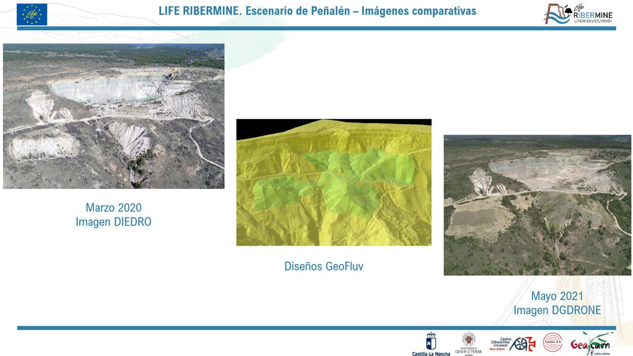 Escombreiras exteriores de Peñalén antes e após restauração: maio 2020 – maio 2021